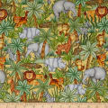 QT Fabrics  Jungle Buddies Animals & Palm Trees Gold