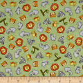 QT Fabrics Jungle Buddies Tossed Animal Heads Green