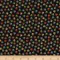 QT Fabrics  Jungle Buddies Paw Prints Black