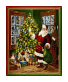 "QT Fabrics Christmas Eve Santa & Christmas Tree 36"" Panel Metallic Gold/Multi"