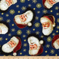 QT Fabrics Christmas Eve Santa Head Toss Metallic Gold/Navy