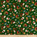 QT Fabrics Christmas Eve Presents & Stockings Metallic Gold/Green