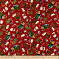 QT Fabrics Christmas Eve Presents & Stockings Metallic Gold/Red