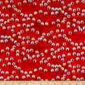 QT Fabrics Peanuts Peace*Love*Joy Christmas Lights Red