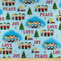 QT Fabrics Peanuts Peace*Love*Joy Peace Love Joy Caroler Vignettes Light Blue