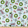 QT Fabrics Peanuts Peace*Love*Joy Snoopy & Woodstock Christmas Toss White
