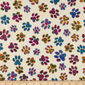 QT Fabrics  Purr-Suasion Cat Paws Cream