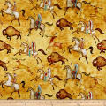 QT Fabrics  Southwest Soul Bison Run Yellow