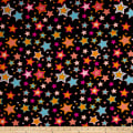 Double Brushed Jersey Knit Multi Stars on Black