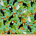 Isle Tropical Birds & Flowers Aqua/Multi