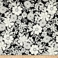Black Tie Metallic Etched Large Floral Black/White