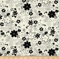 Black Tie Metallic Etched Medium Floral White/Black
