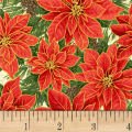 Noel Poinsettias Metallic Cream/Multi