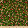 Noel Holly & Candy Canes Metallic Green/Multi