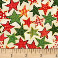 Noel Large Stars Metallic Cream/Multi