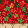 Noel Large Stars Metallic Red/Multi