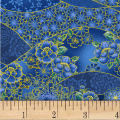 Asian Garden Floral Swirl Metallic Royal/Multi