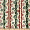 A Festive Season 2 Snowflake Stripe Green/Cream Metallic