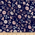 Riley Blake Blush Metallic Floral Sparkle Blue