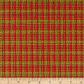 Seasons Greetings Holiday Plaid  Metallic Red/Green