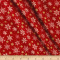 Seasons Greetings Random Snowflakes  Metallic Red