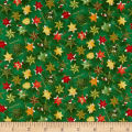 Seasons Greetings Whimsical Stars  Metallic Green/Multi