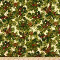 Holiday Editions Holly And Pine Cones Metallic Ivory/Multi