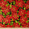 Holiday Editions Large Poinsettias Metallic Black/Multi