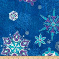Kaufman Holiday Flourish 11 Snowflakes Metallic Peacock