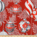 Kaufman Holiday Flourish 11 Ornaments Metallic Scarlet