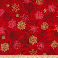 Kaufman Holiday Flourish 11 Snowflakes Metallic Crimson