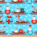Kaufman It's Chilly Outside Seals Sleds Ornaments Ice