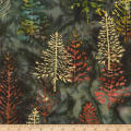 Kaufman Northwoods Batik Trees Metallic Forest