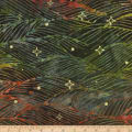 Kaufman Northwoods Batik Waves Metallic Forest