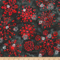 Kaufman Artisan Batiks Snowflakes 2 Metallic Red/Blue