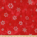 Kaufman Artisan Batiks Snowflakes 2 Metallic Light Red