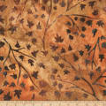 Kaufman Cornucopia Branches Leaves Batik Rust