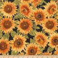Kaufman Shades Of The Season Sunflowers Black