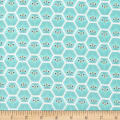 Cloud 9 Dolittles Owl Flannel Organic Turquoise