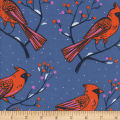 Cotton + Steel Frost Winter Cardinals Blue