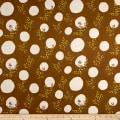 Kokka Spring Flower Mimosa Double Gauze Brown/Cream