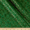 Elegant Christmas Scroll Metallic Green