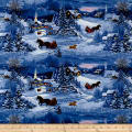 Let It Snow Night Scene With Horses Dark Blue