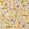 Safari Shuffle Mixed Animals Flannel Light Yellow