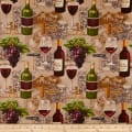 Vineyard Valley Bottles, Wine Glasses, Grapes Brown