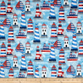 Anchor'S Away Light Houses & Boats Blue