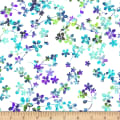 "Watercolor Meadow Digital 108"" Wide Back Floral Light Blue/Lavender"
