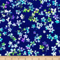"Watercolor Meadow Digital 108"" Wide Back Floral Dark Blue"
