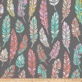 Fleece Prints Ethnic Feathers Fleece Gray/Coral