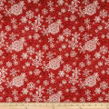 Sheltering Snowman Lacey Snowflakes Red